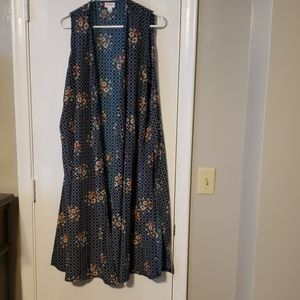 Lularoe long sleeveless silky material duster